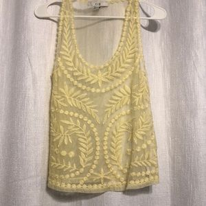 Tops - Embroidered yellow tank